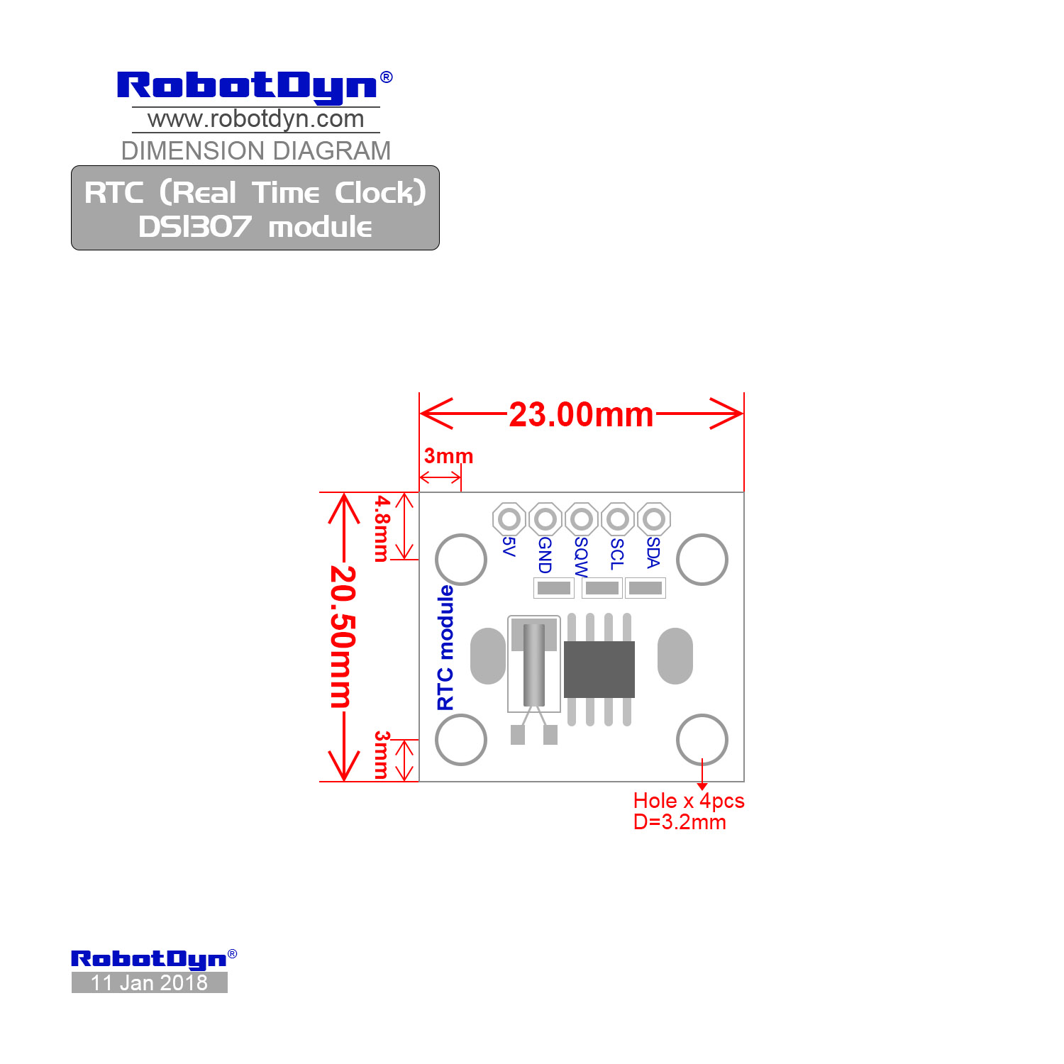 Rtc Real Time Clock Ds1307 Module With Battery Circuit Dimensions