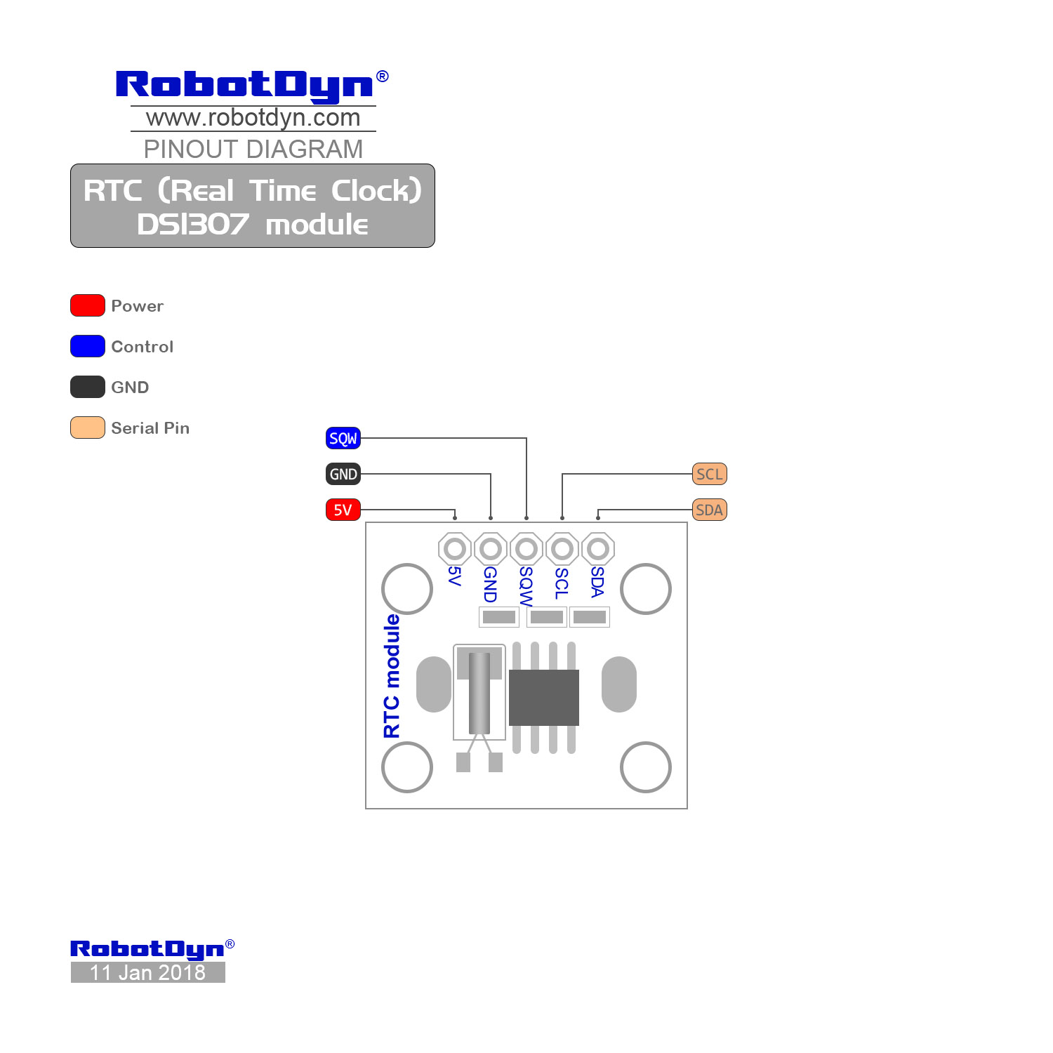 Rtc Real Time Clock Ds1307 Module With Battery Digital Using Pic Microcontroller And Pinout