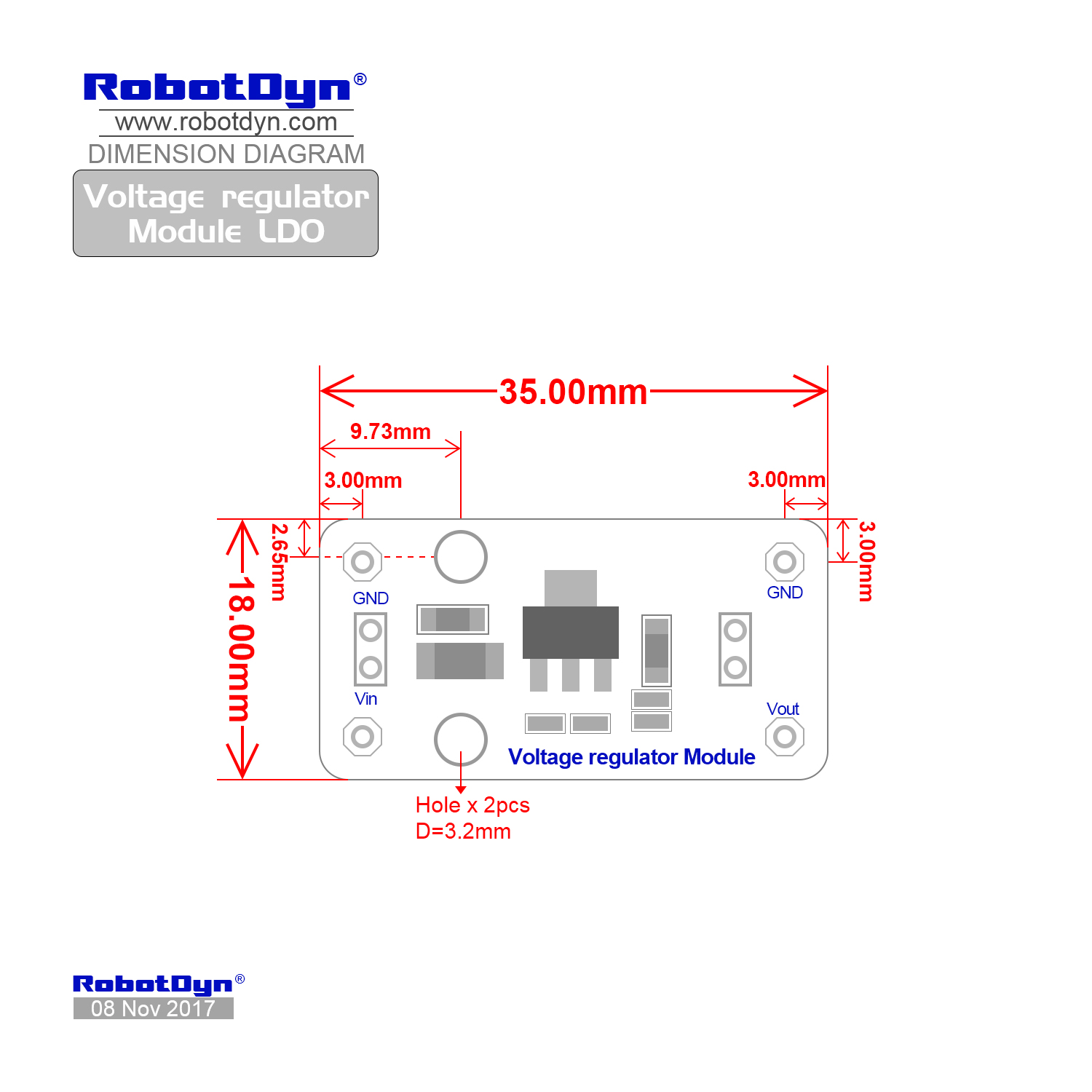 Voltage Regulator Module Ldo Our Schematic Dimensional Drawing Dimensions