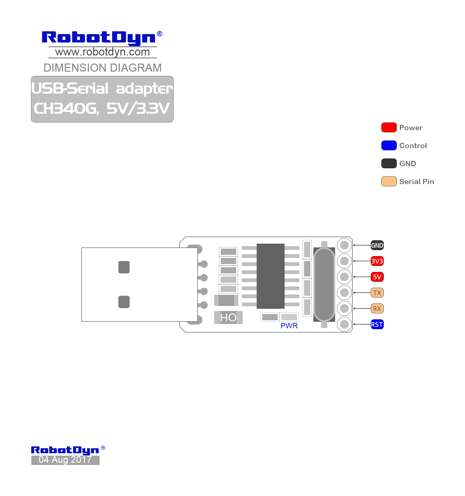 Schematic Diagram Online: USB-Serial Adapter CH340G, 5V/3.3V
