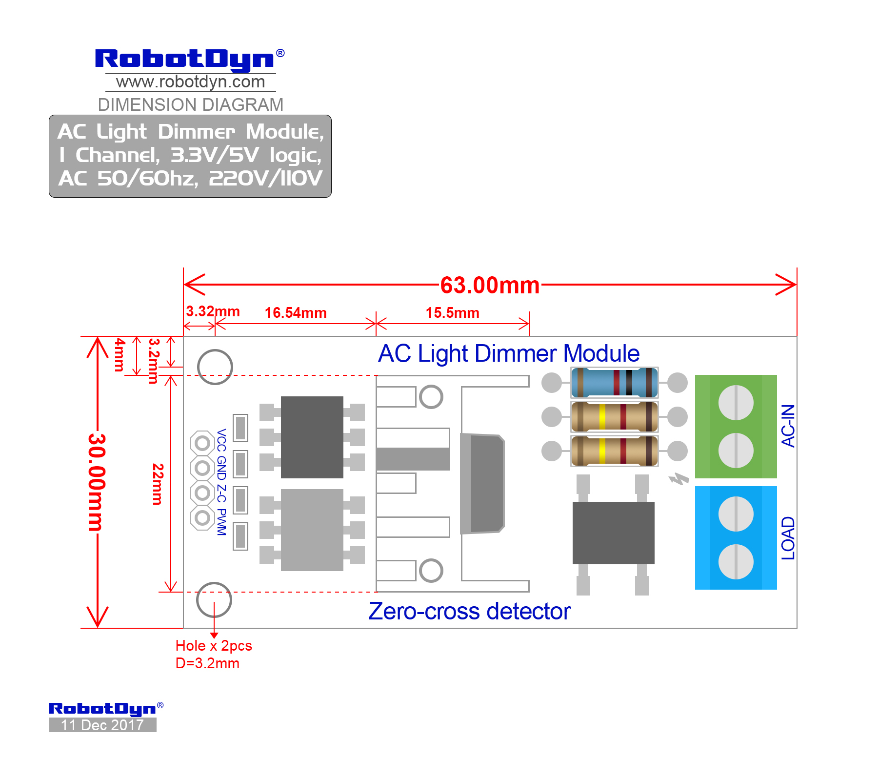 Ac Light Dimmer Module 1 Channel 33v 5v Logic 50 60hz 220v Triac 8 Opto Isolator Driver Circuit Schema Dimensions