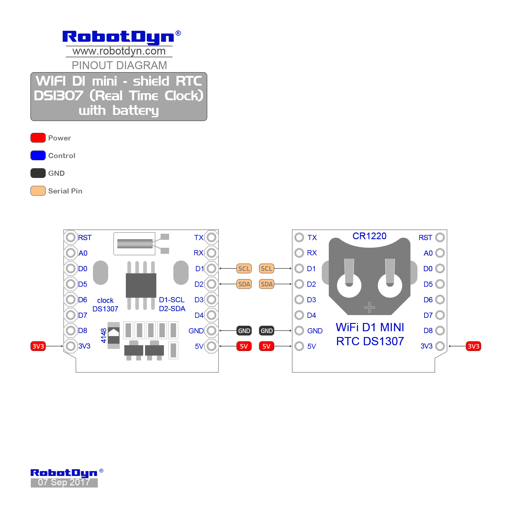Wifi D1 Mini Shield Rtc Ds1307 Real Time Clock With Battery Ds1307realtimeclockschematic Pinout
