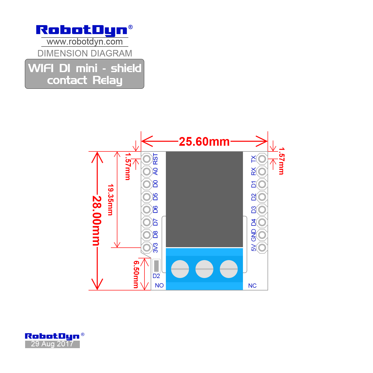 Wifi D1 Mini Shield Contact Relay With No And Nc Contacts Dimensions