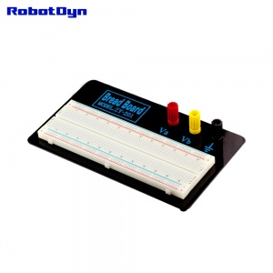Breadboard on plate with binding posts