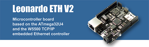 Leonardo ETH V2 with ATmega32U4 & W5500 Ethernet (Arduino-compatible board)